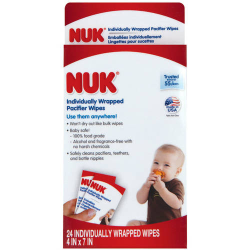 Nuk Individually Wrapped Pacifier Wipes, 24-Count