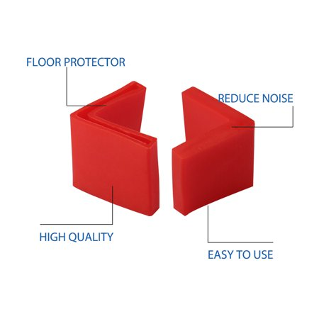 40mm x 40mm Angle Iron Foot Pad L Shaped PVC Leg Cap Floor Protector Red 2pcs - image 3 de 7
