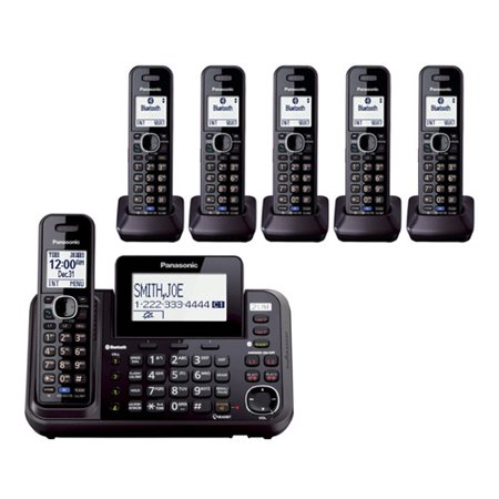 Panasonic KX-TG9542B + (4) KX-TGA950B DECT 6.0 Plus 2-Line Operation Bluetooth Enabled 6 Handset Cordless (Bluetooth Enabled Mobile Phones)