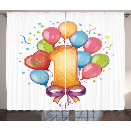 1st Birthday Curtains 2 Panels Set, Vintage Theme Kids First Party with Balloons Stars and Dots Image Colorful, Window Drapes for Living Room Bedroom, 108W X 108L Inches, Multicolor, by Ambesonne - Vintage Themed Party