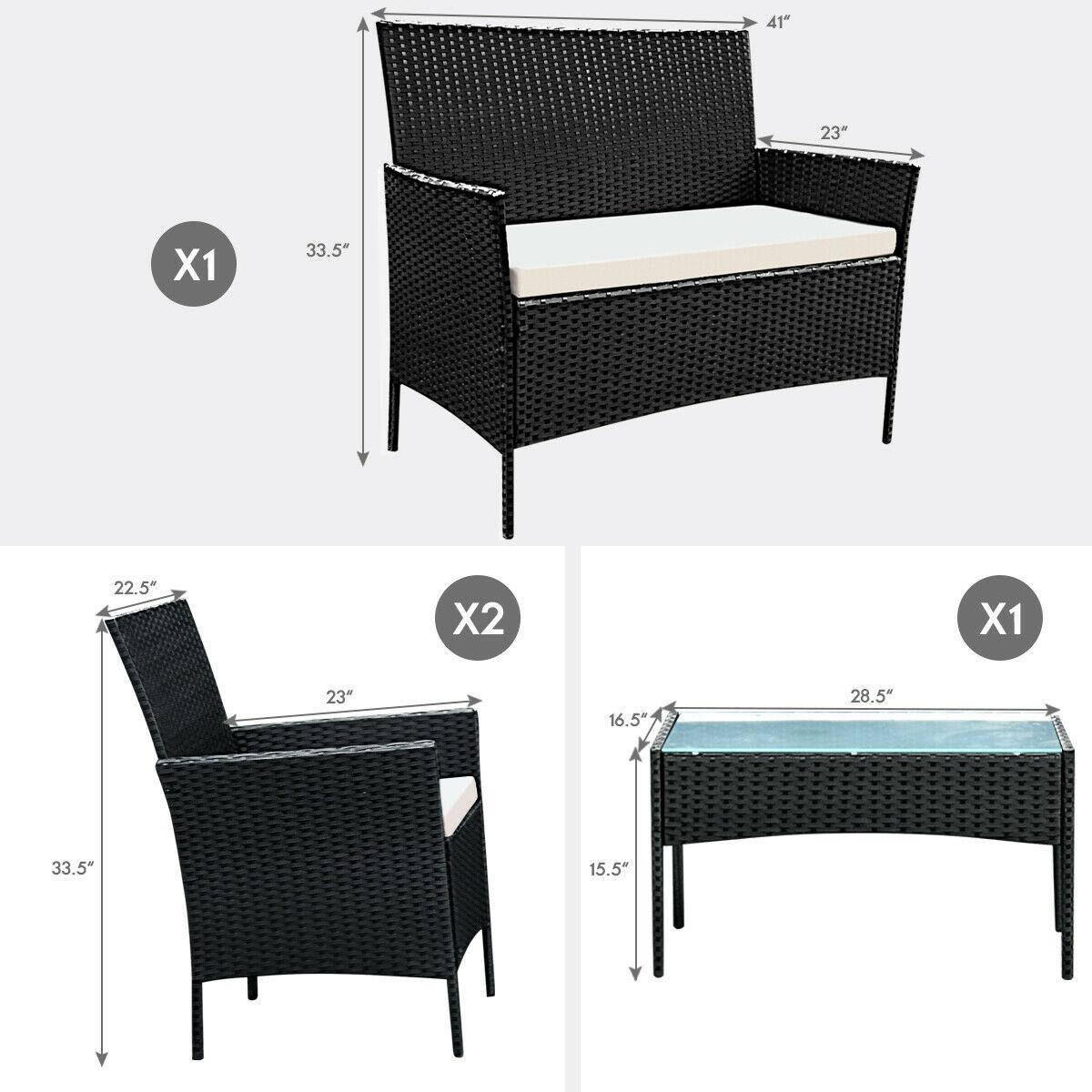 4pcs Patio Rattan Sofa Set Loveseat Cushioned Furniture Outdoor Garden - image 3 of 9