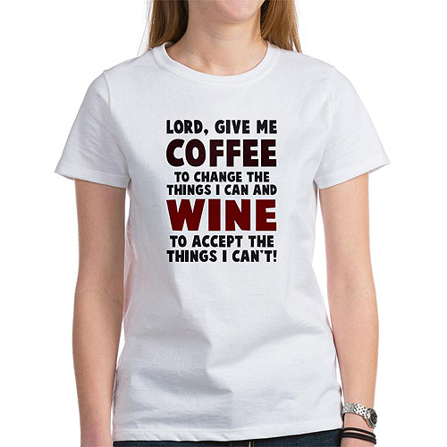 CafePress Womens Coffee & Wine T-Shirt