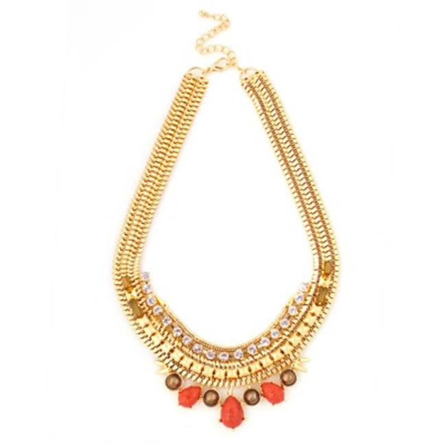 C Jewelry Gold Multicolor Metal Coral With White Crystal Necklace And Earring Set by C Jewelry