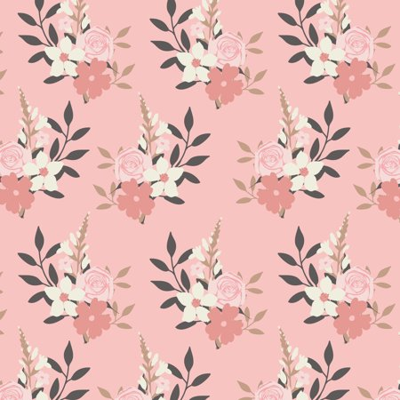 - Emma and Mila Swanns Collection Floral Blush 44'' Wide 1 Yard Pre Cut 100% Cotton Quilting Fabric by the Yard
