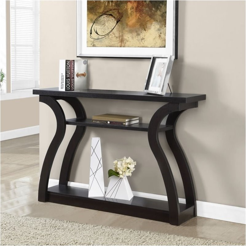 "Pemberly Row 47"" Three Tier Hall Console Accent Table in Cappuccino"