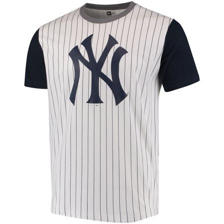 Men s New Era White Navy New York Yankees Pinstripe Baseball T-Shirt -  Walmart.com 375162886b9