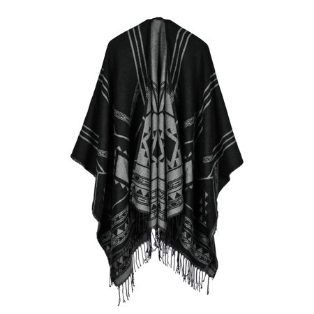 Fashion Women Poncho Cardigan Sweater Geometric Tassels Fringed Faux Cashmere Capes Shawl Scarf Loose Outerwear ()