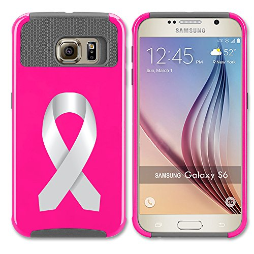 For Samsung Galaxy (S7 Edge) Shockproof Impact Hard Soft Case Cover Diabetes Brain Cancer Parkinson's Disease Lung Cancer (Hot Pink-Gray)