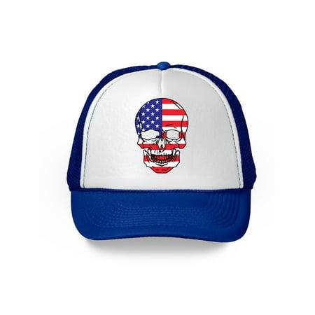 Awkward Styles Skull Trucker Hat USA Flag Hat Skull 4th of July Patriotic Gifts American Flag Hat USA Baseball Cap Patriotic Hat American Flag Men Women 4th of July Hat 4th of July Accessories - 4th Of July Baseball Hats