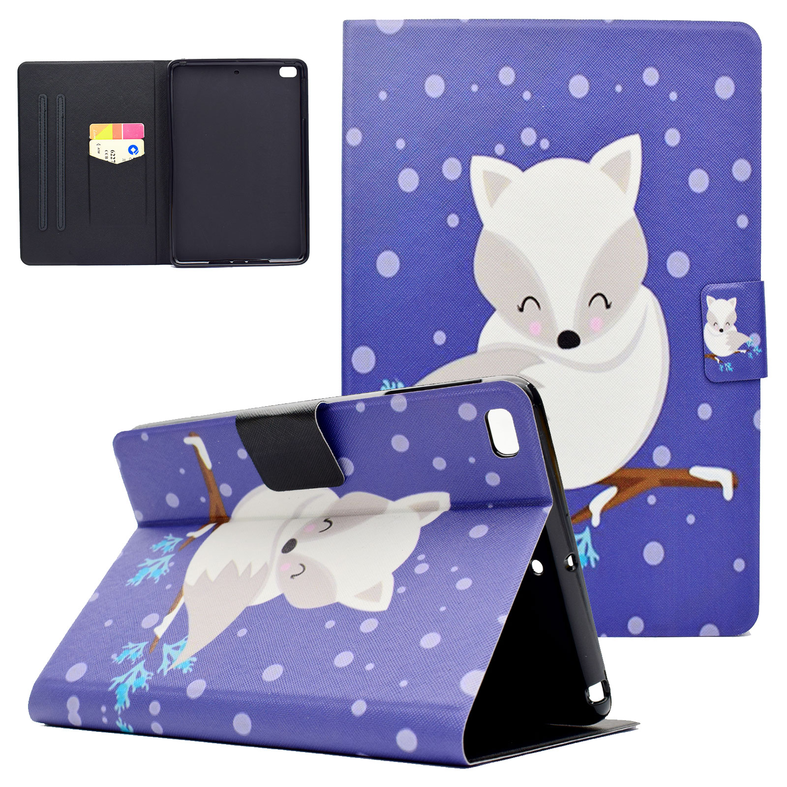 Wallet Case For iPad Mini 1 2 3 4, Goodest Flip Foilo Slim PU Leather Case Cover with Auto Sleep/Wake Function For 7.9 inch Apple iPad Mini 1/ Mini 2/ Mini 3/ Mini 4, White Fox