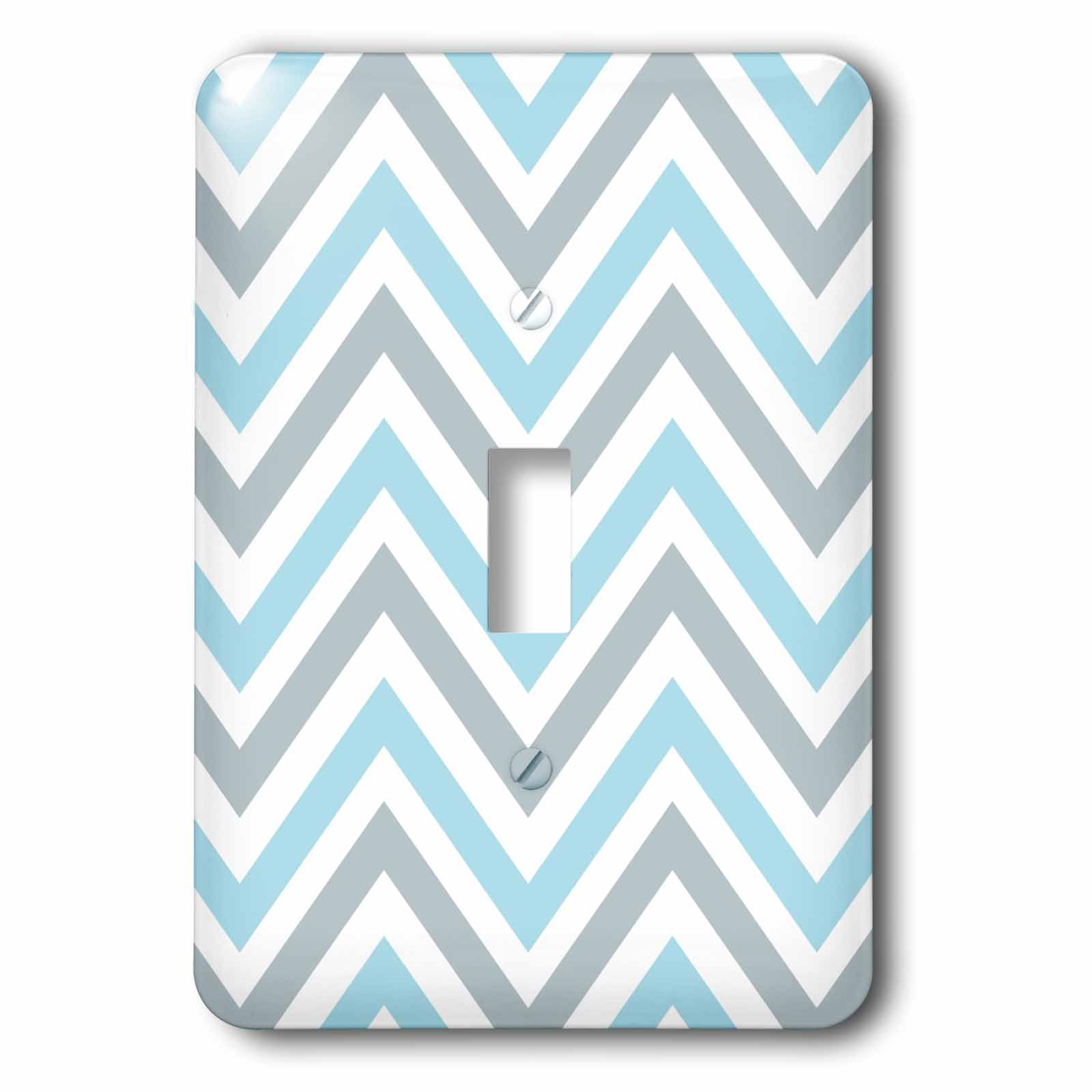 3dRose Light Blue and Grey Chevron zig zag pattern - modern pastel zigzags, 2 Plug Outlet Cover