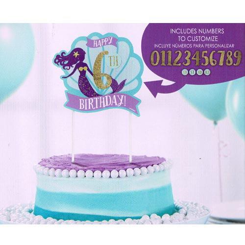 Mermaid 'Mermaid Wishes' Customizable Cake Decoration (1ct)