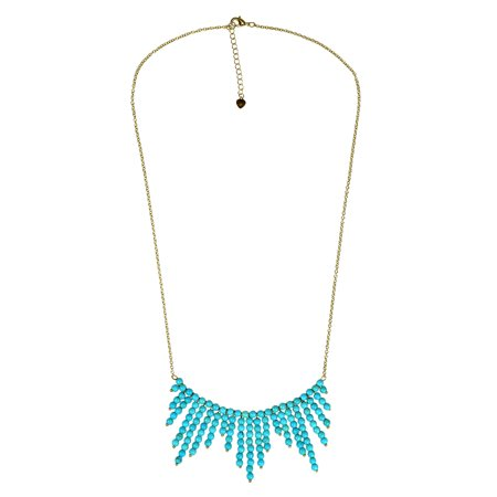 Mystic Comets Round Turquoise Drop Brass Chain Necklace