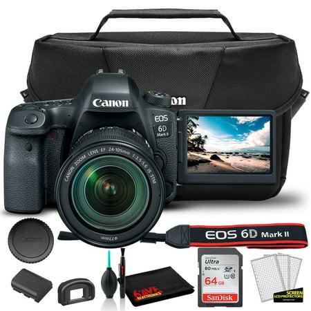 Canon EOS 6D Mark II DSLR Camera with 24-105mm f/3.5-5.6 Lens (1897C021) + Canon EOS Bag + Sandisk Ultra 64GB Card (International Model)