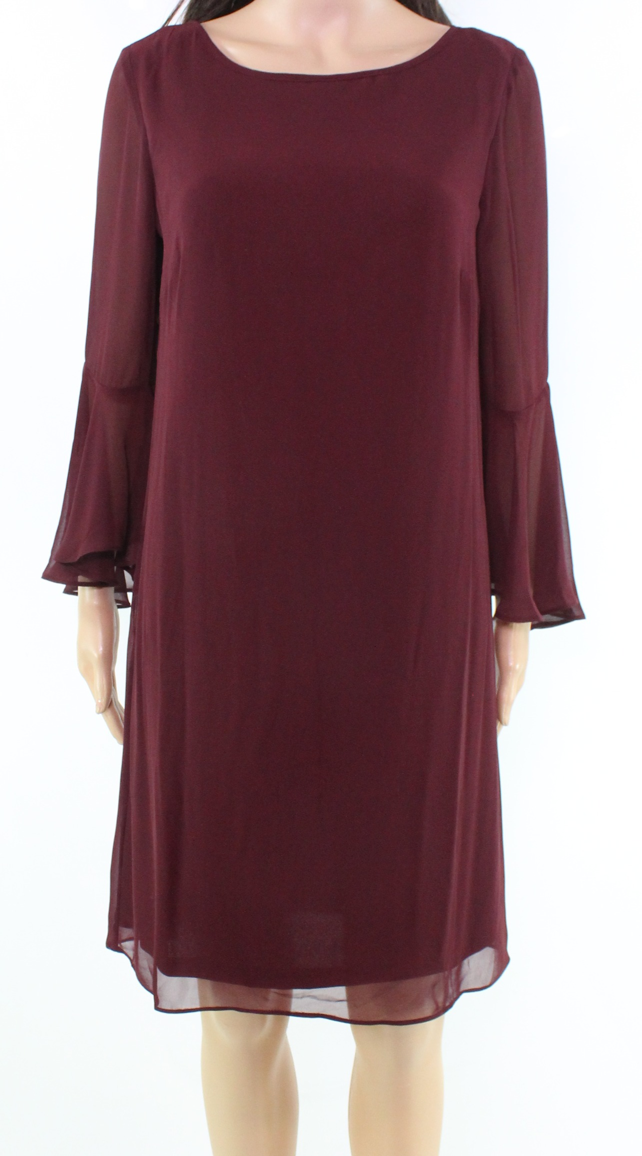 Inc New Red Port Bell Sleeve Womens Size 8 Chiffon Shift Dress