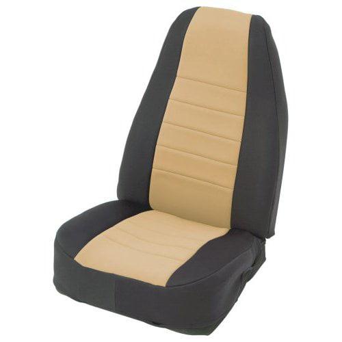 Tan on Black Custom Fit Neoprene Rear Seat Cover