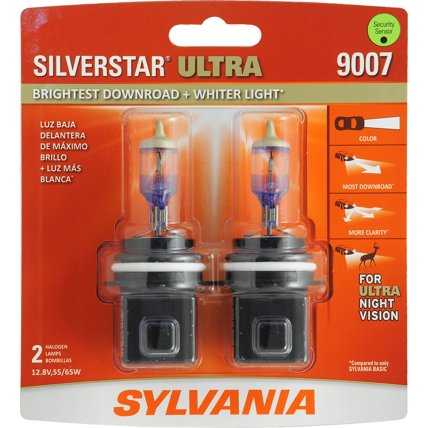 SYLVANIA 9007 SilverStar ULTRA Halogen Headlight Bulb, Pack of 2