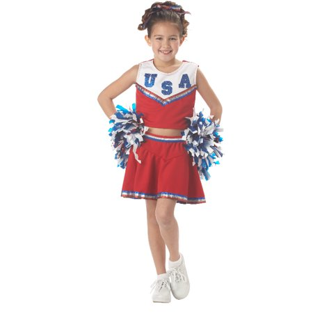 Patriotic Cheerleader Child Costume (Red) - Cheerleader Kids Costume