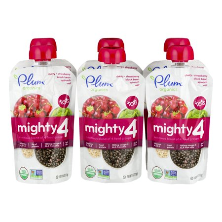 Plum Organics Mighty 4 Cherry, Strawberry, Black Bean, Spinach, Oat - 6 CT