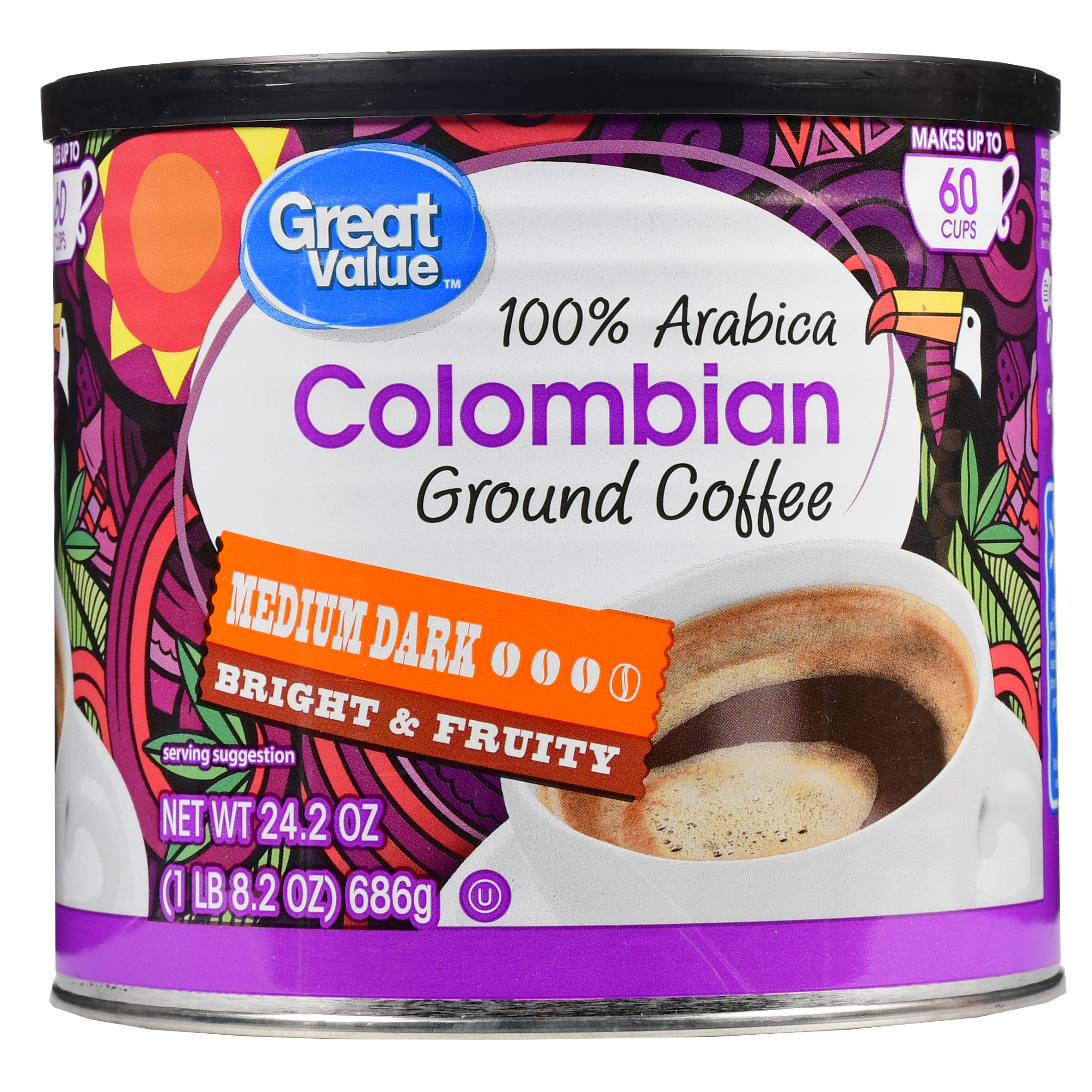 Great Value 100% Colombian Ground Coffee, Medium Dark Roast, 24.2 oz