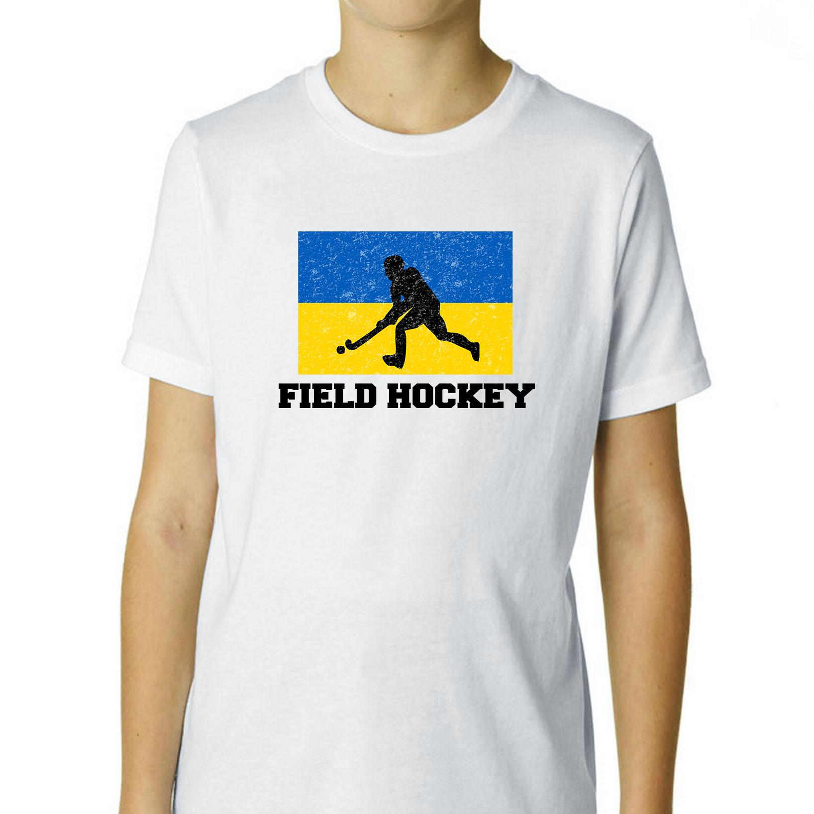 Ukraine Olympic Field Hockey Flag Silhouette Boy's Cotton Youth T-Shirt by Hollywood Thread