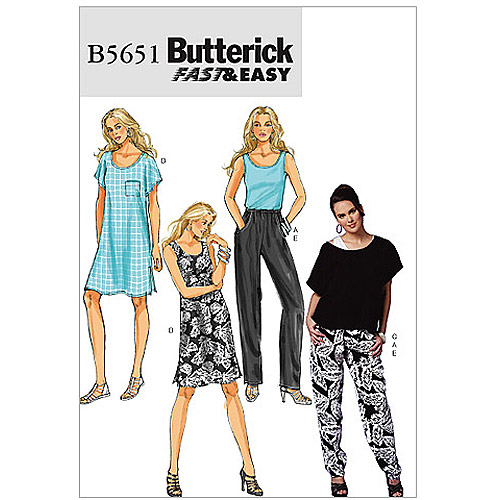 Butterick Pattern Misses' Top, Dress and Pants, Y (XS, S, M)