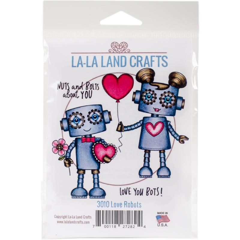 "La - La Land Cling Stamps 4.5"" x 3.5"" - Love Robots"