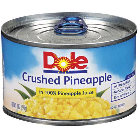 dole crushed pineapple in 100 pineapple juice 8 oz can