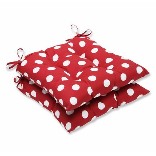 Pack of 2 Red & White Polka Dot Outdoor Patio Tufted Chair Seat Cushions 19""