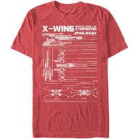 Star Wars Men's  X-Wing Schematics - Heather T-shirt Red