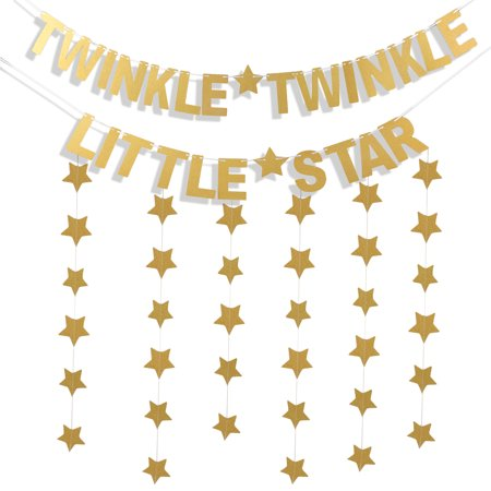 3Pcs Star Banners Garland Decorations, Coxeer Letter Banner Paper Twinkle Twinkle Little Star Party Banner Glitter Banner with 1.97'' for Baby - Owl Baby Shower Banner