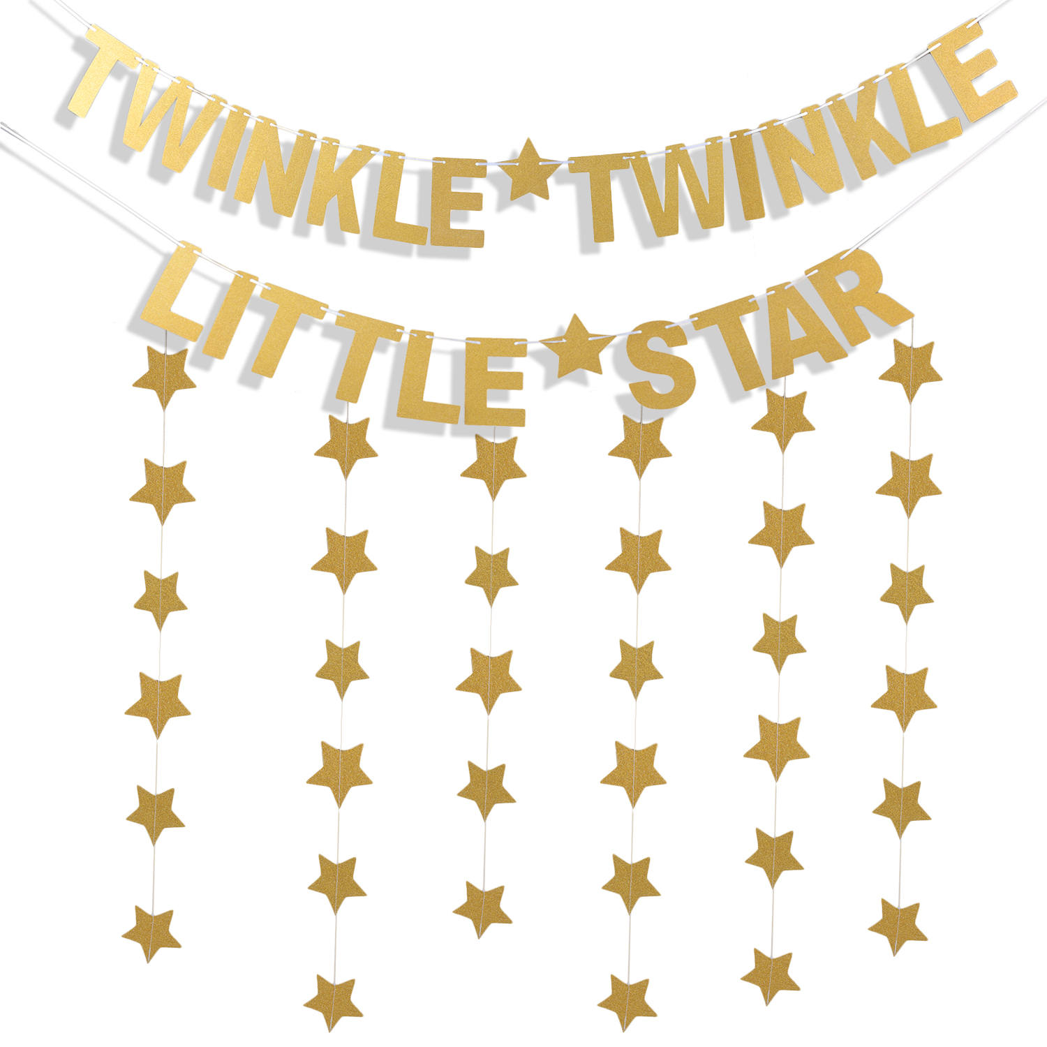 3Pcs Star Banners Garland Decorations, Coxeer Letter Banner Paper Twinkle Twinkle Little Star Party Banner Glitter Banner with 1.97'' for Baby Shower