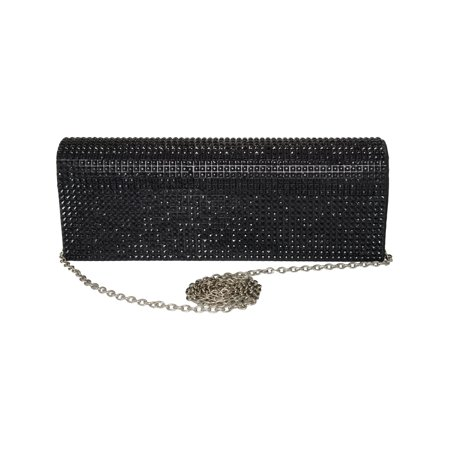Black Rhinestone Clutch Purse Sparkling Satin Rhinestone Foldover Clutch Chain
