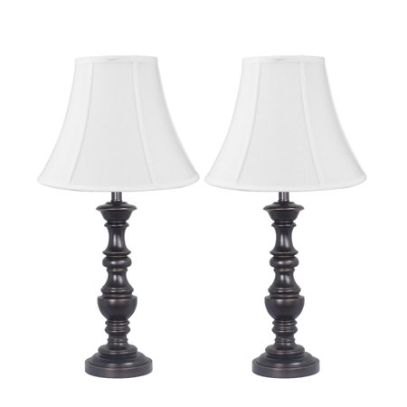 Kimber Turned Table Lamp Set of 2 Antique Bronze Finish with White Bell Shantung Shade ()
