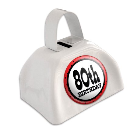 80th Eightieth Birthday Red Black Polka Dots White Cowbell Cow Bell