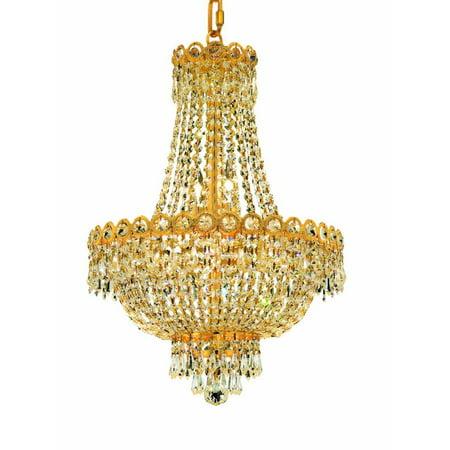 Elegant Lighting 1900D16g Century 8-Light, Two-Tier Crystal Chandelier, Finished