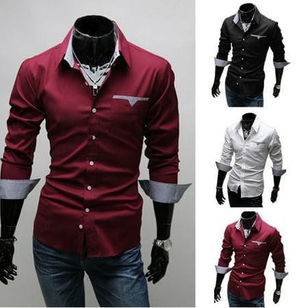 New Mens Shirt Long Sleeve Button Up Work Smart Formal Plain Dress Tops