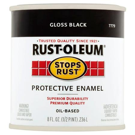 Rust-Oleum Stops Rust Gloss Black Oil-Based Protective Enamel, 8 fl oz