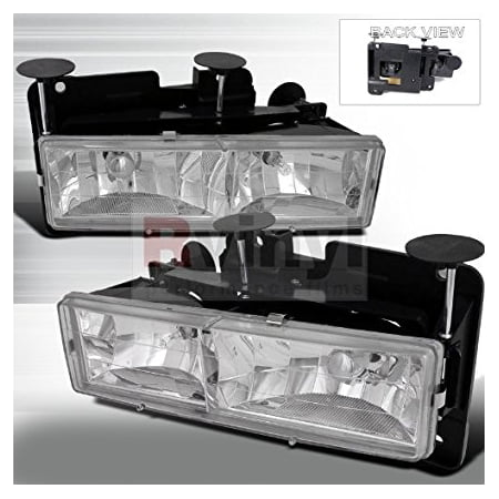 Spec-D Tuning Chevrolet C10 1988 1989 1990 1991 1992 1993 1994 1995 1996 1997 1998 Euro Headlights - Chrome -