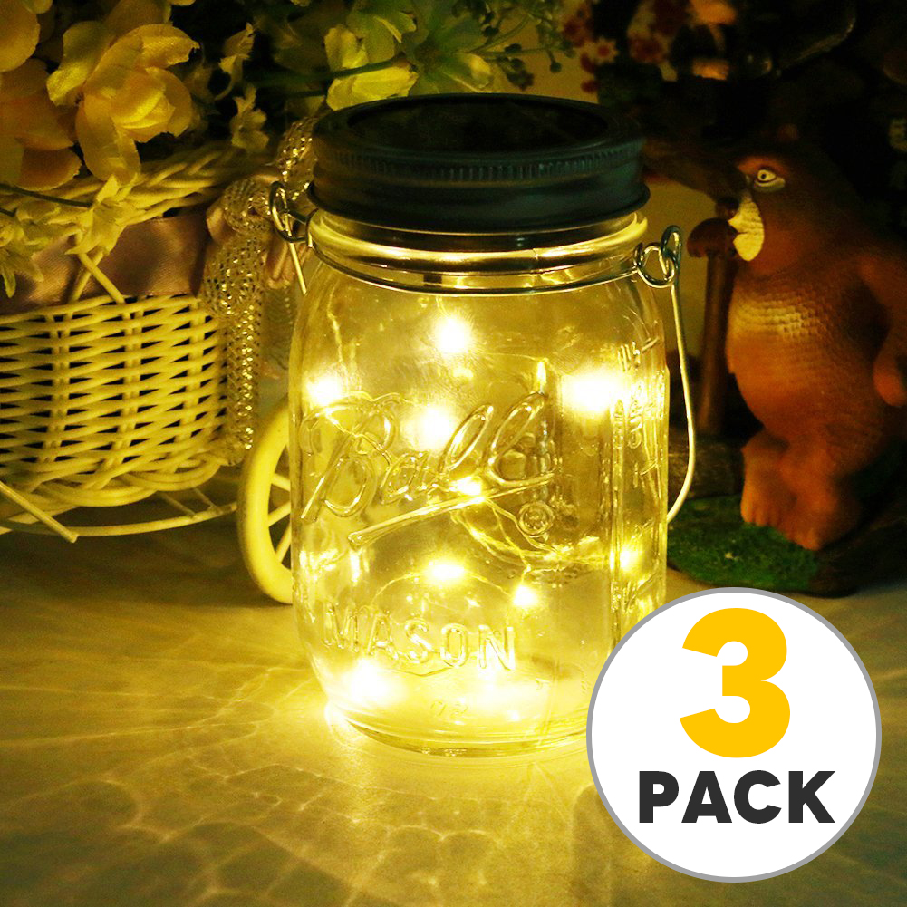 TSV Solar Mason Jar Lid Lights, 3 Pack 10 Led String Fairy Star Firefly Jar Lids Lights, Best for Mason Jar Decor,Patio Garden Decor Solar Laterns Table Light