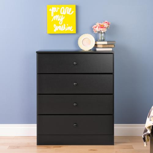 Prepac Bella 4-Drawer Dresser, Black