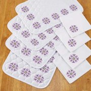 Herrschners® Purple Blossoms Place Mats & Napkins Stamped Cross-Stitch
