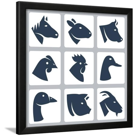 Vector Domesticated Animals Icons Set: Horse, Sheep, Cow, Chicken ...
