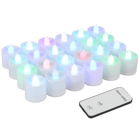 Kohree LED Candle Tea Lights with Battery Electric Remote Control, Flameless Candle Lamp for Wedding Party Festival Holiday Décoration,Flickering Colorful 24pcs/set (Flameless Lamps)