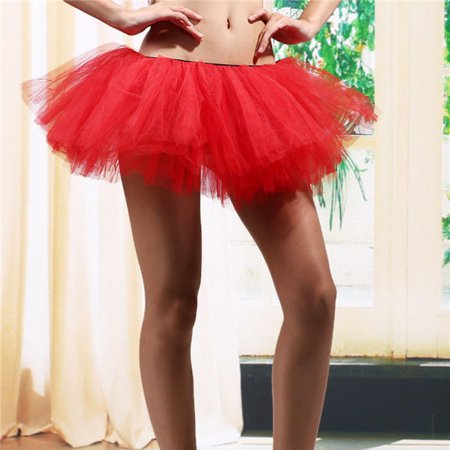 5 Layers Adult Women Tutu Tulle Skirt Petticoat Dance Rave Neon Party Costume Red