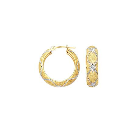 10K Yellow & White Gold 6mm Diamond Cut Textured Hoop Earrings Diamonds Pattern Hinged by IcedTime