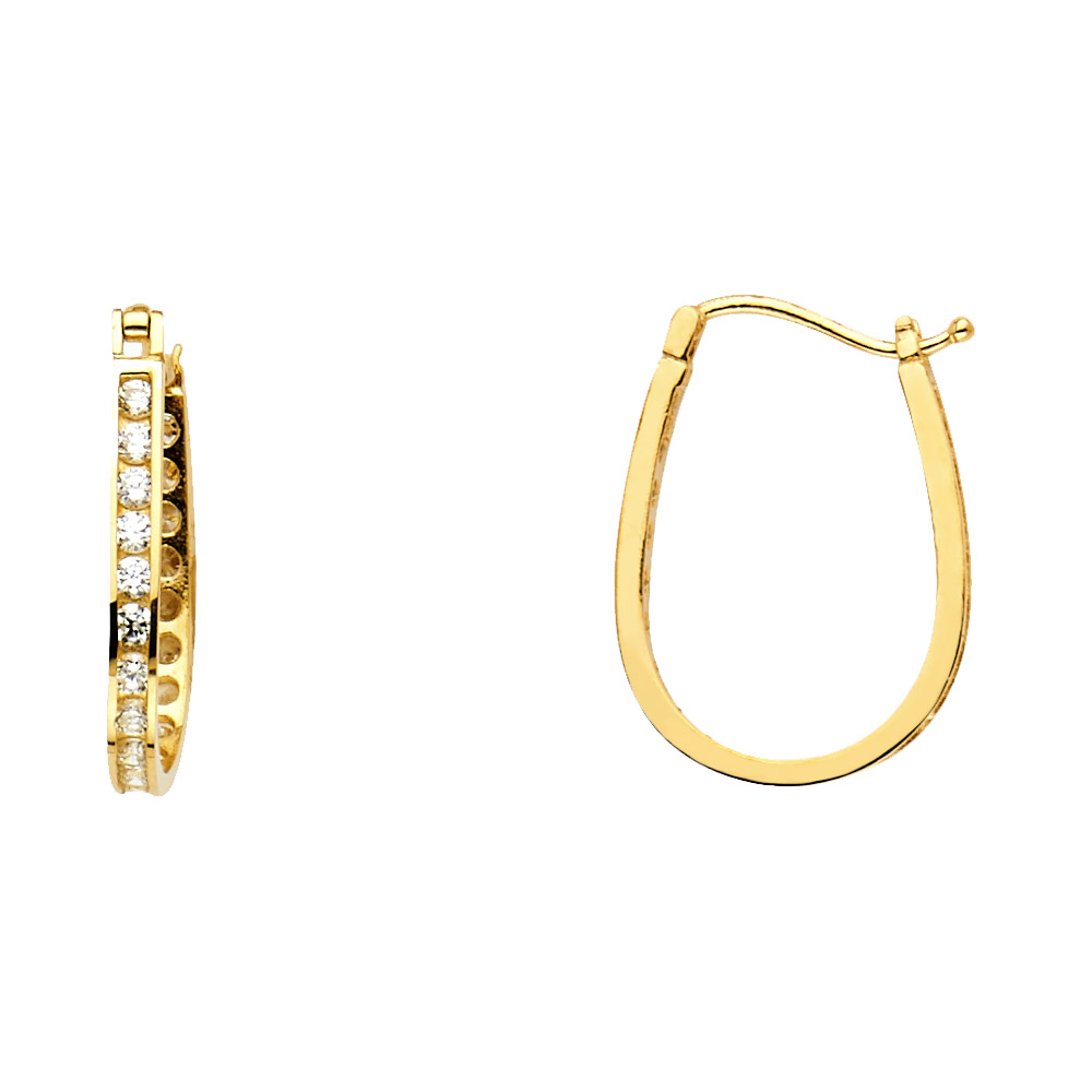 14k Yellow Gold Polished /& Twisted Patterned Hinged Hoop Earrings 25mm x 3mm