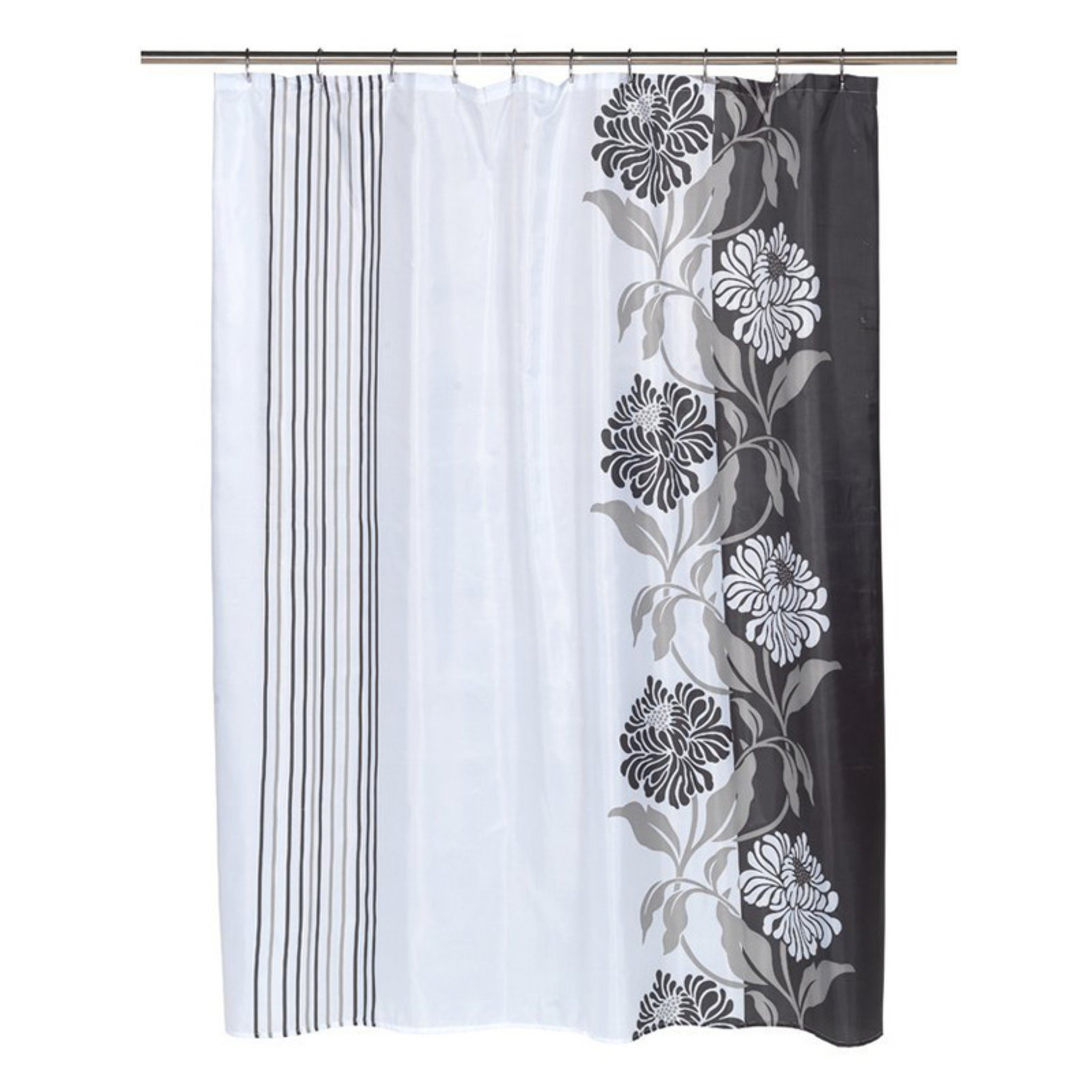 "Extra Long ""Chelsea"" Fabric Shower Curtain in Black/White"
