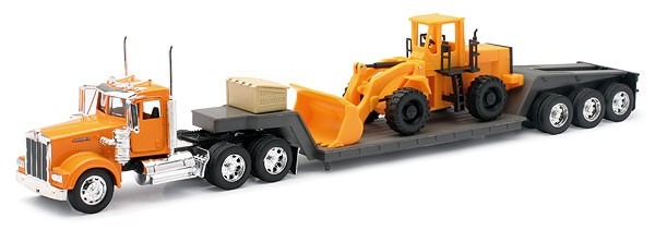 1 32 1979 Kenworth W900 w Lowboy Trailer & Front End Loader (Die Cast) by