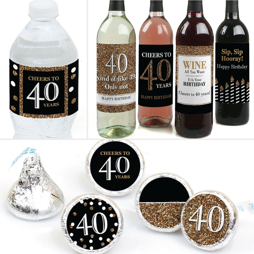 Adult 40th Birthday Gold Birthday Party Decorations Favors Kit